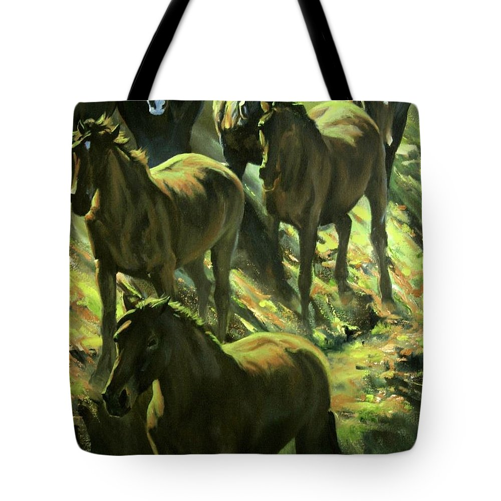 Horses Tote Bag featuring the painting Descent by Mia DeLode