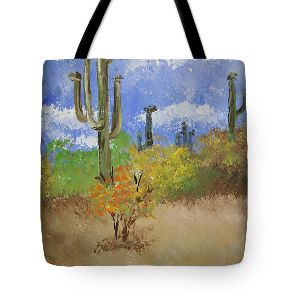 Cactus Tote Bag featuring the pastel Desert Cactus by Melissa Wiater Chaney