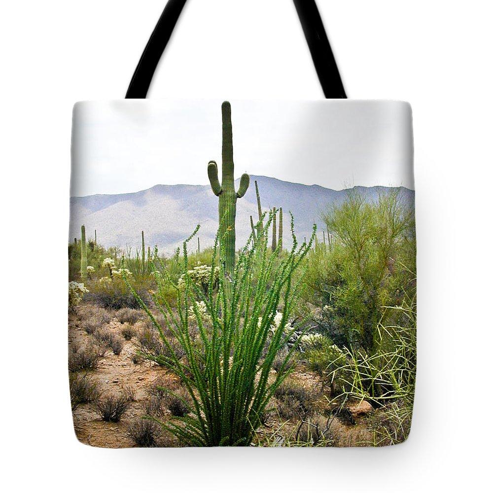 Desert Tote Bag featuring the photograph Desert Chaparral by Douglas Barnett