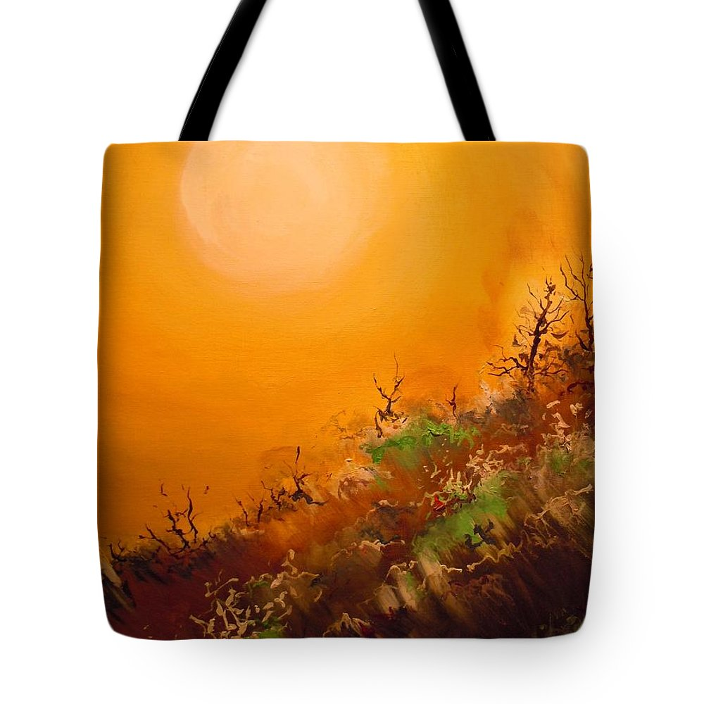 Desert Evening Tote Bag featuring the painting Hot Desert Evening by Dan Whittemore