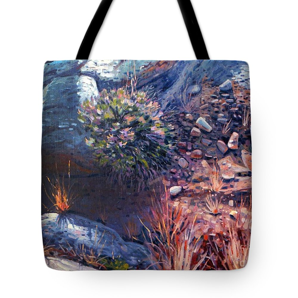 Desert Tote Bag featuring the painting Desert Floor by Donald Maier