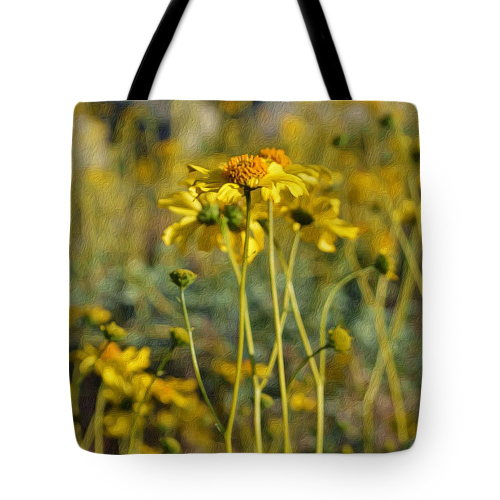 Wild Sunflowers Tote Bag featuring the digital art Desert Flower Impressions One - Wild Sunflowers by Glenn McCarthy Art and Photography