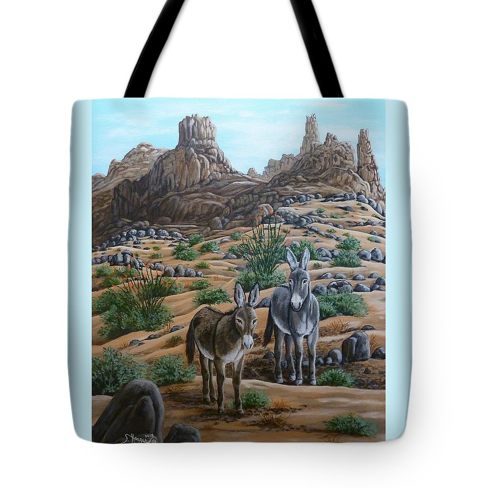 Burro Tote Bag featuring the painting Desert Gypsy's by Shari Hazzard-Doyle