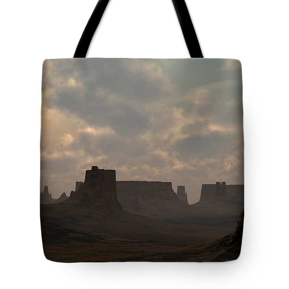 Desert Tote Bag featuring the digital art Desert Morning by Richard Rizzo