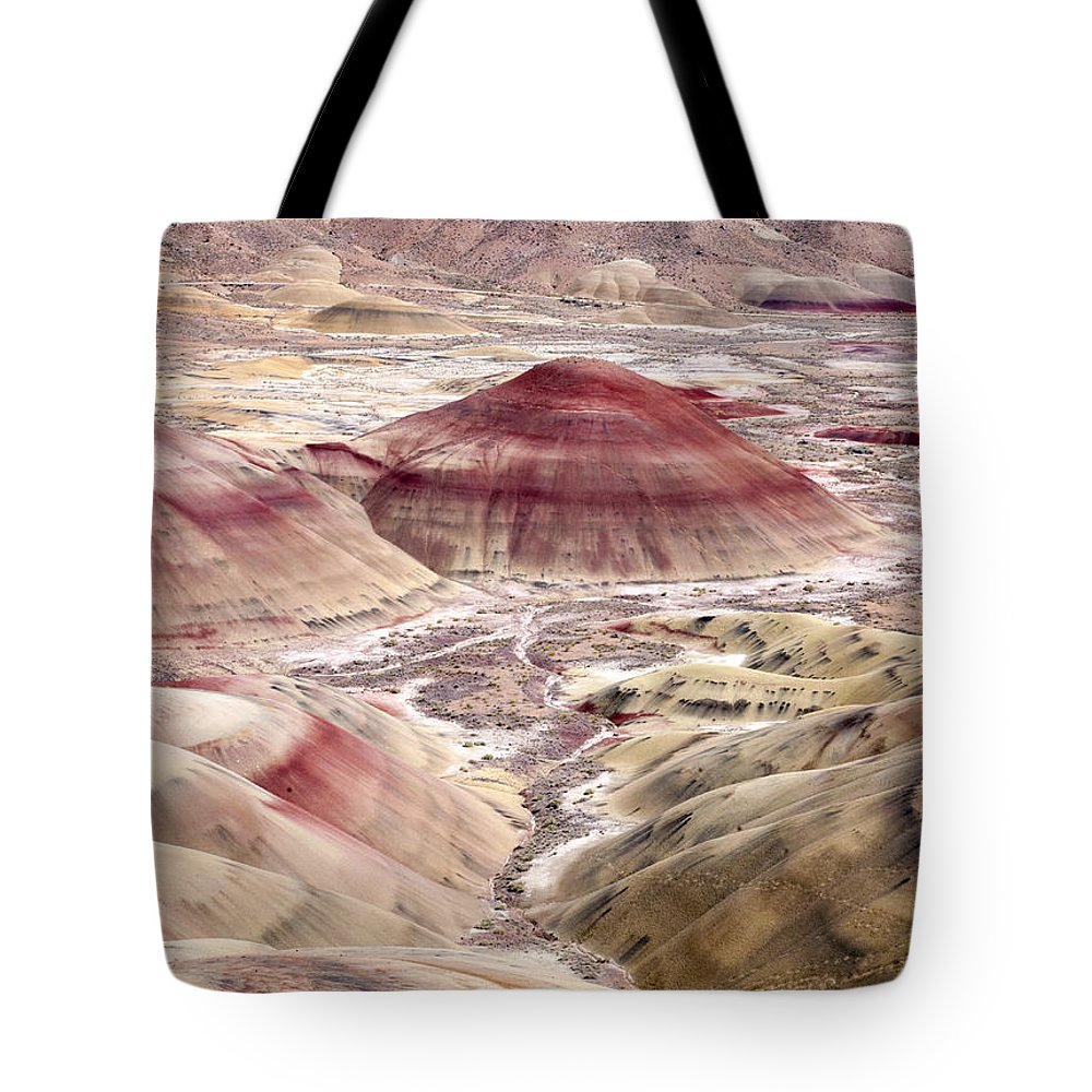 Painted Hills Tote Bag featuring the photograph Desert Palette by Mike Dawson