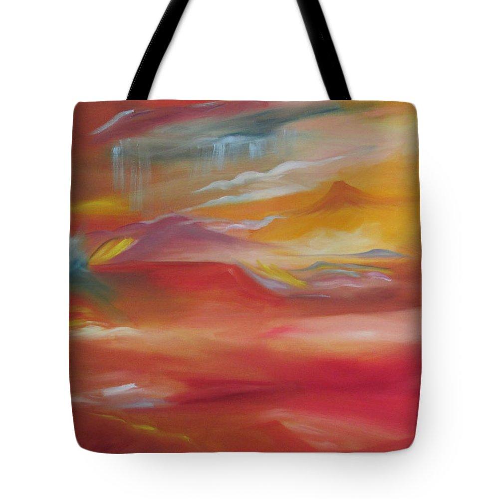 Desert Rain Tote Bag featuring the painting Desert Rain by Nataya Crow