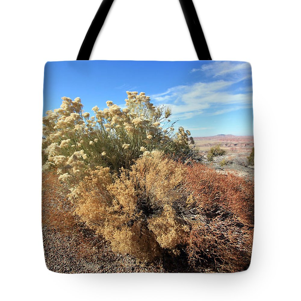 Landscape Tote Bag featuring the photograph Desert Scrub by Mary Haber