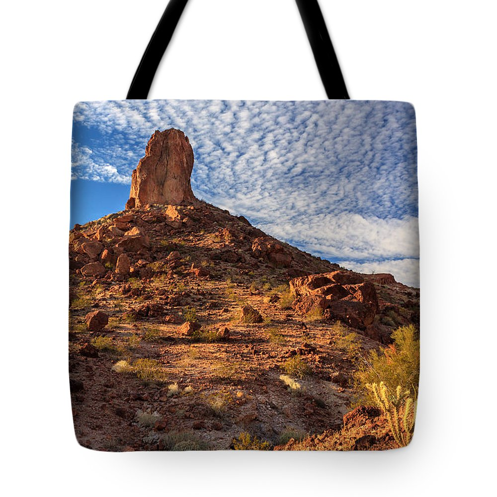 Landscape Tote Bag featuring the photograph Desert Spire by James Eddy
