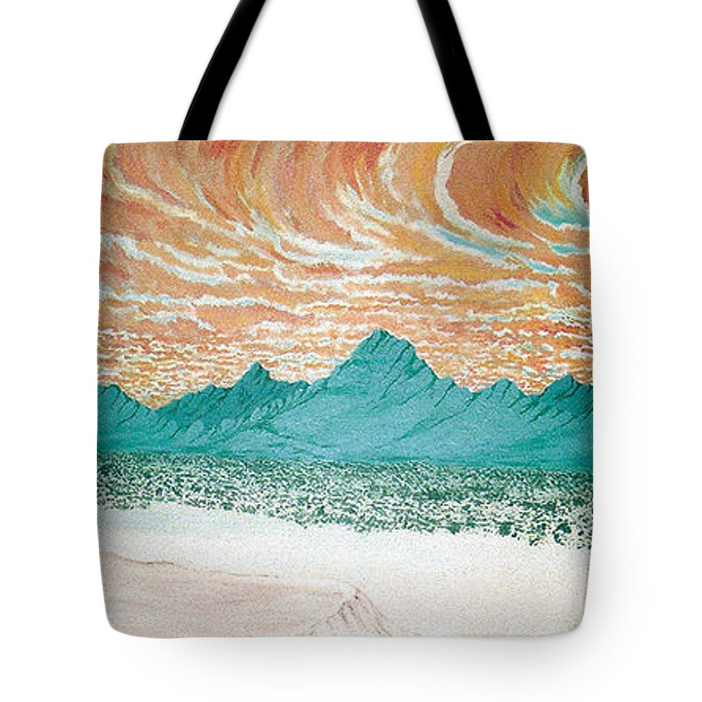 Desertscape Tote Bag featuring the painting Desert Splendor by Marco Morales