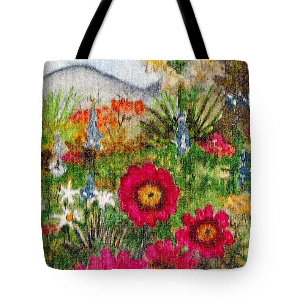 Spring Flowers Tote Bag featuring the painting Desert Spring by Eric Samuelson