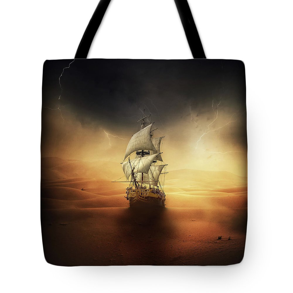 Sand Tote Bag featuring the digital art Desert Storm by Zoltan Toth