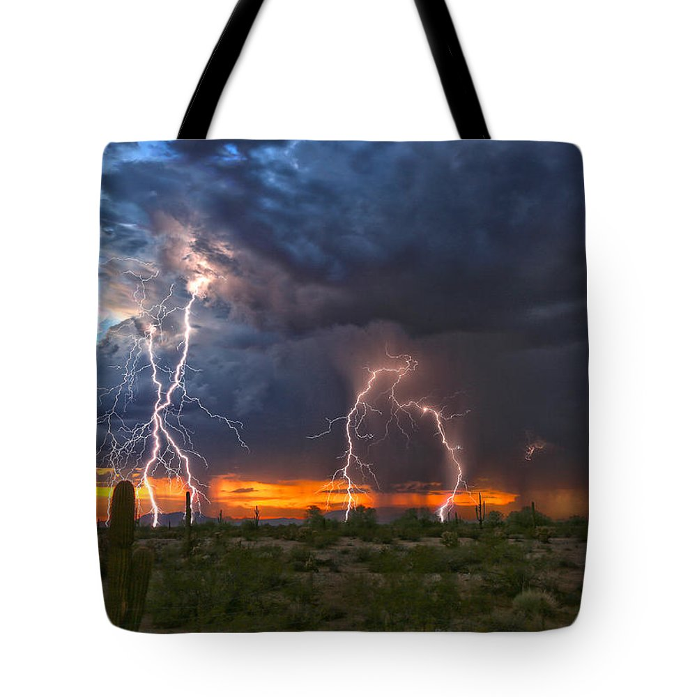 Supercell Tote Bag featuring the photograph Desert Strike by James Menzies