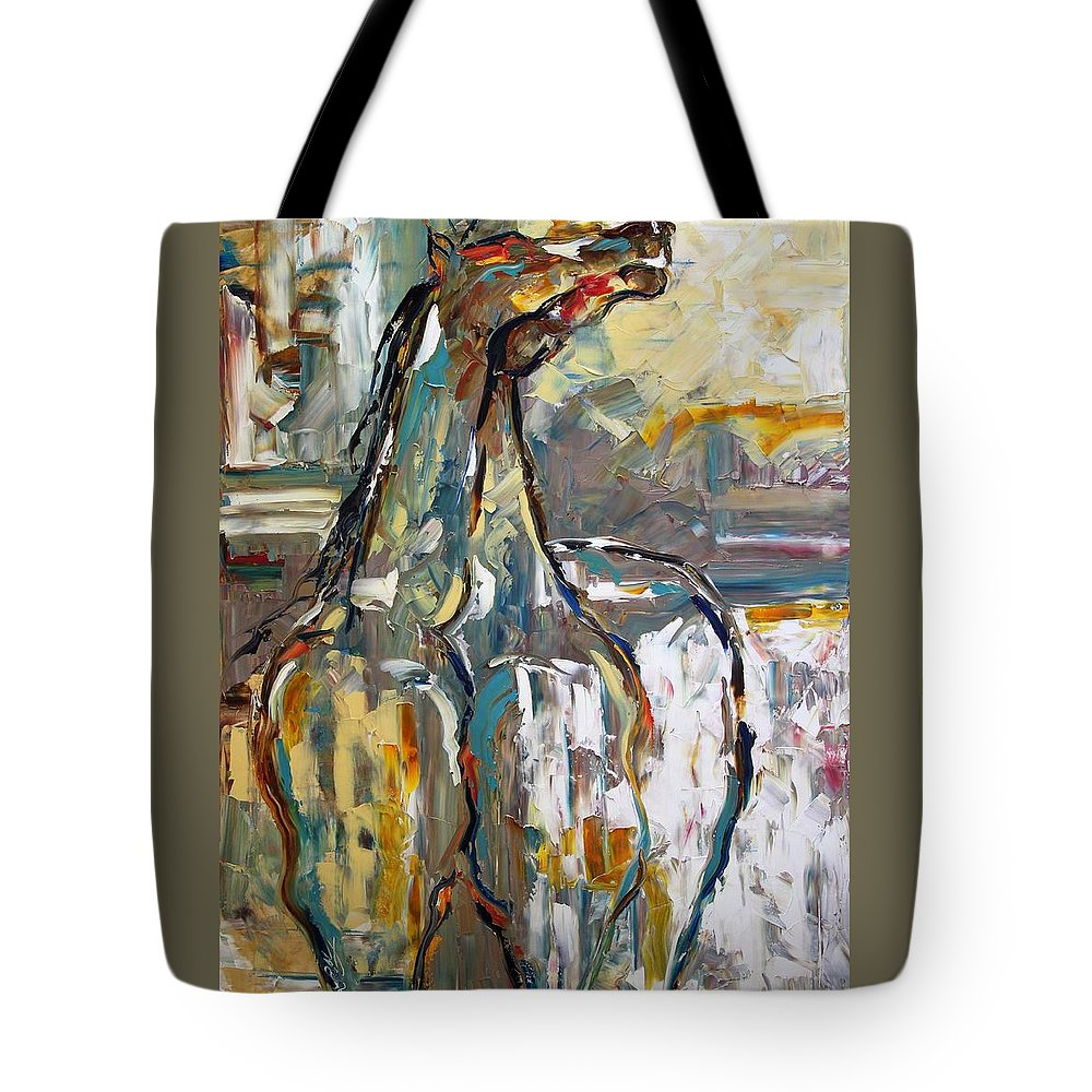 Horse Paintings Tote Bag featuring the painting Desert Sun by Laurie Pace
