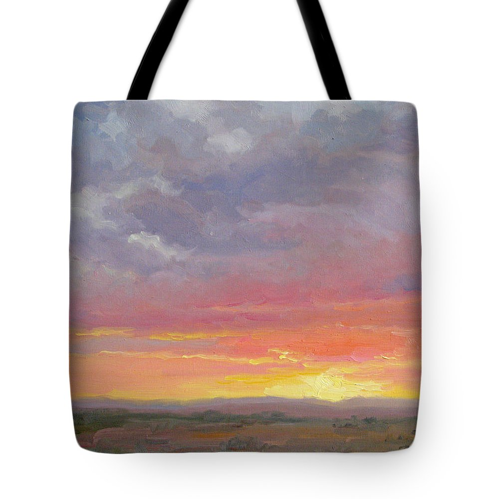 Sunset Tote Bag featuring the painting Desert Sundown by Bunny Oliver