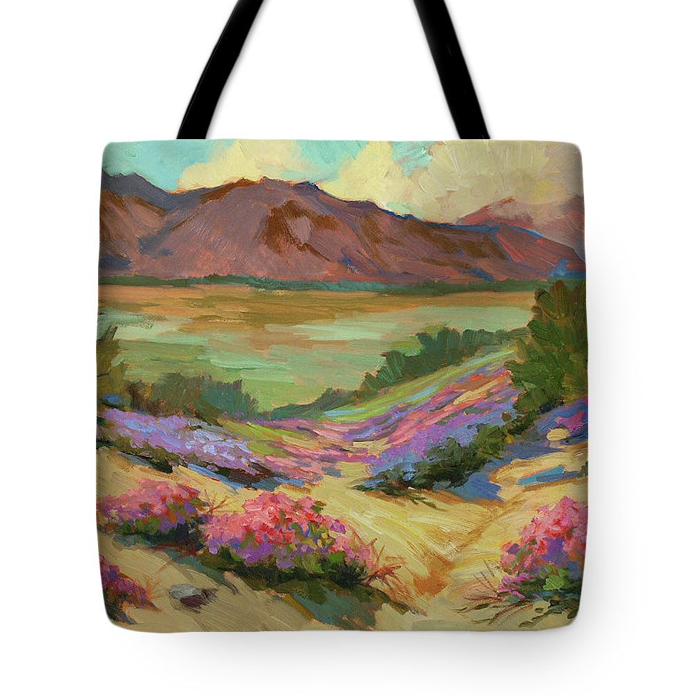 Desert Verbena At Borrego Springs Tote Bag featuring the painting Desert Verbena At Borrego Springs by Diane McClary