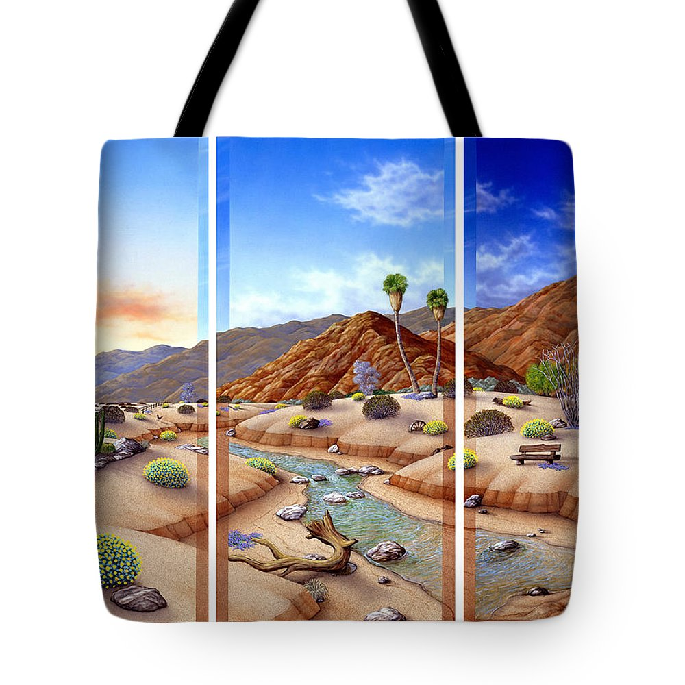 Landscape Tote Bag featuring the painting Desert Vista by Snake Jagger
