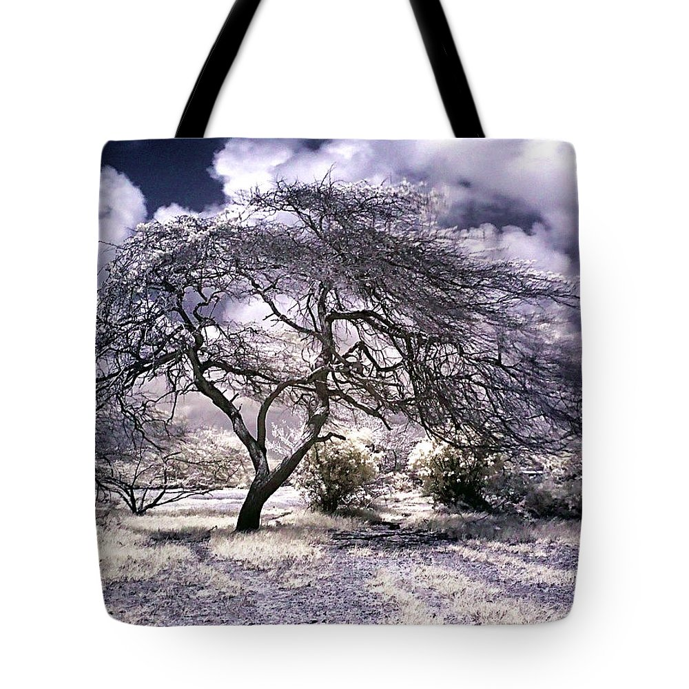 Infrared Garden Trees Magenta Blue White Infrared Photographs Tote Bag featuring the photograph Desertic Tree by Galeria Trompiz