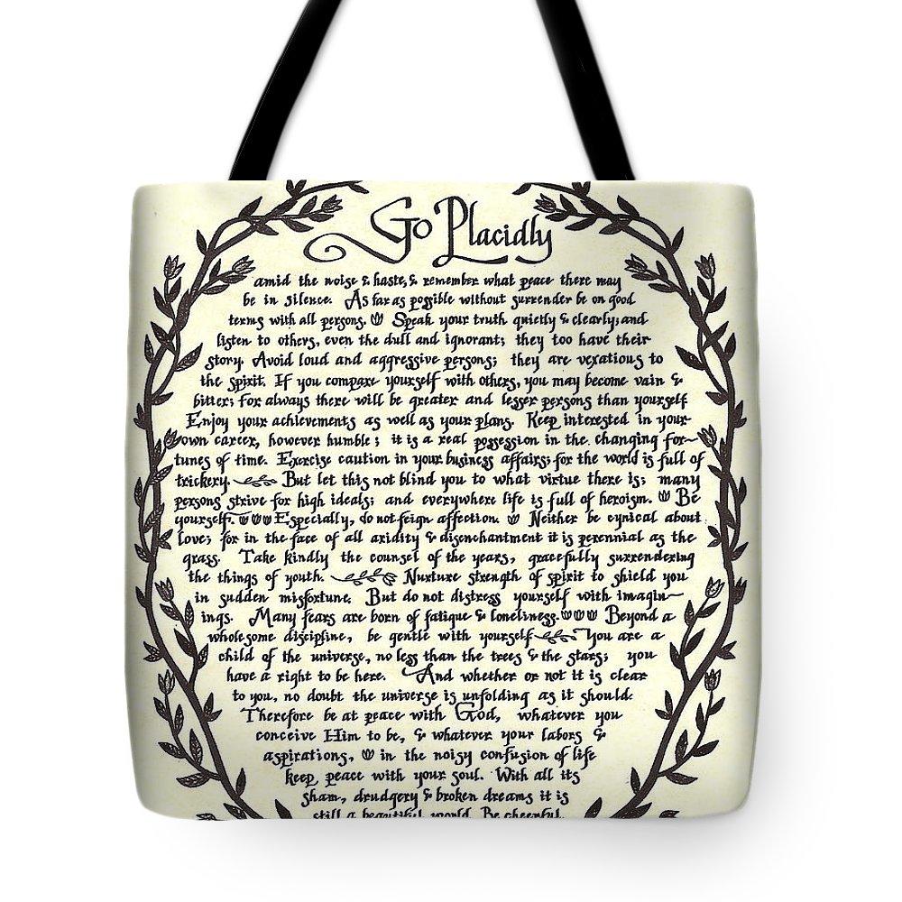 Desiderata Tote Bag featuring the mixed media Desiderata 13 by Desiderata Gallery