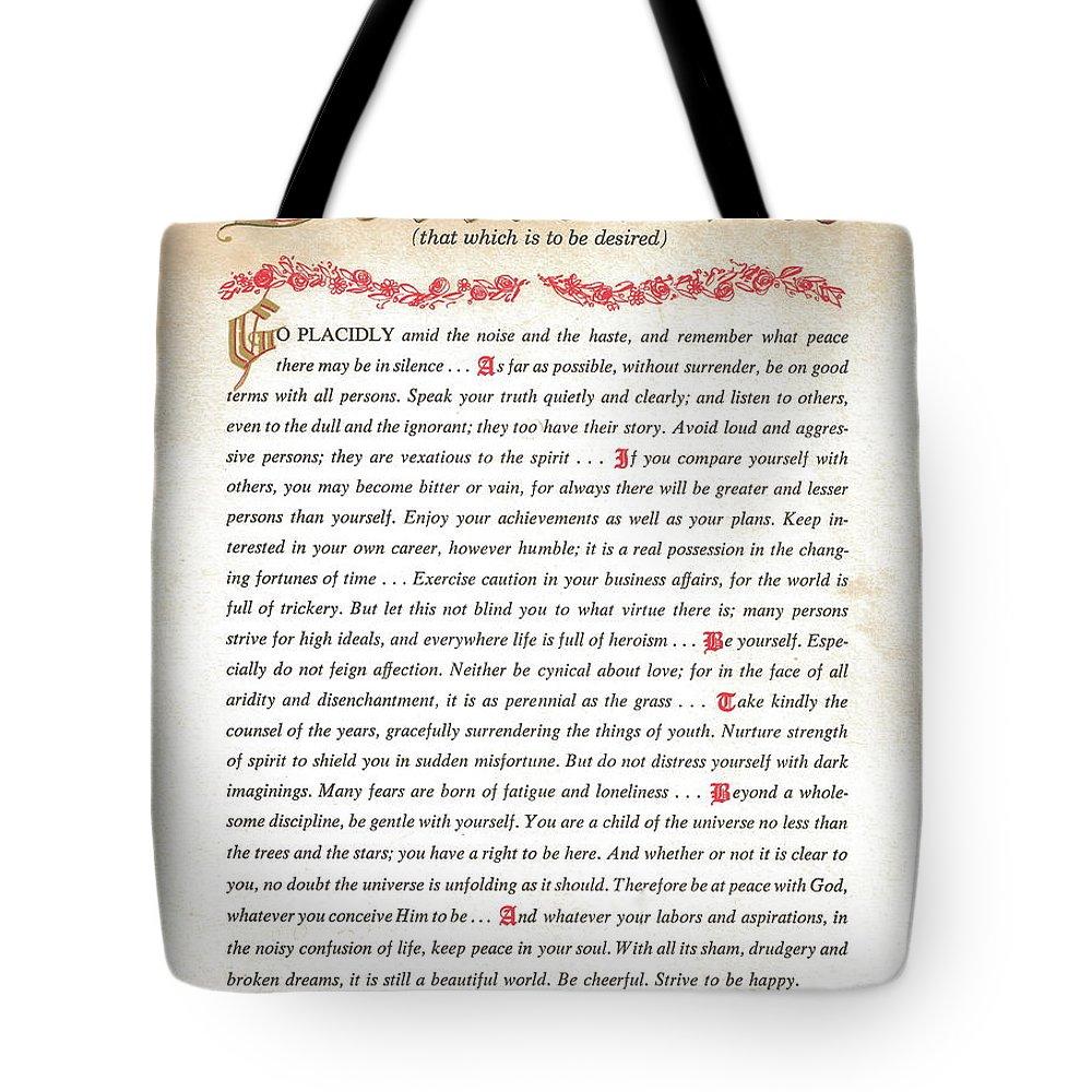 Desiderata Tote Bag featuring the digital art Desiderata 2 by Desiderata Gallery