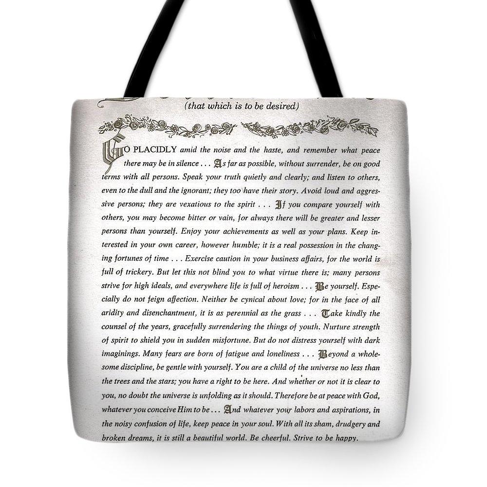 Desiderata Tote Bag featuring the drawing Desiderata 3 by Desiderata Gallery