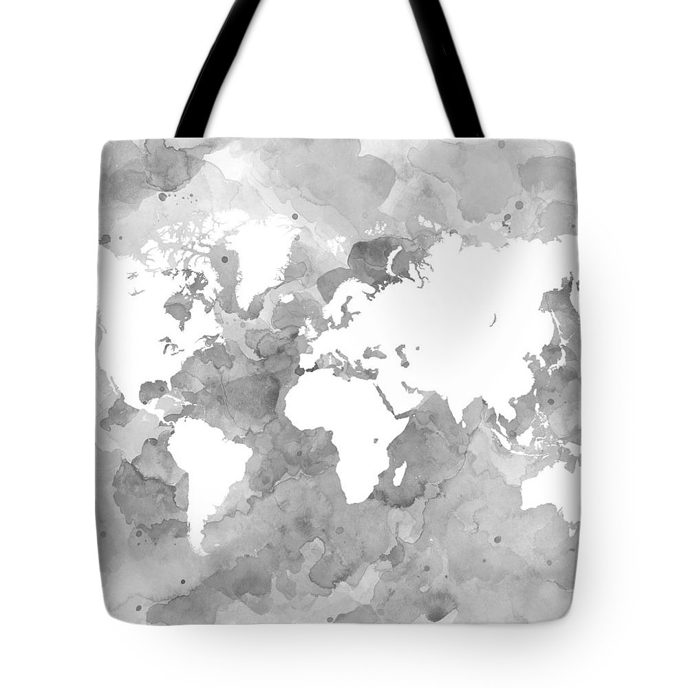 Design 49 world map grayscale tote bag for sale by lucie dumas world tote bag featuring the digital art design 49 world map grayscale by lucie dumas gumiabroncs Gallery