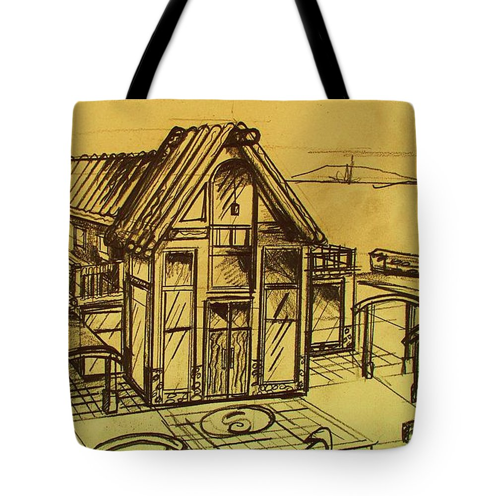 Architectural Tote Bag featuring the drawing Design Sketch by Eric Schiabor