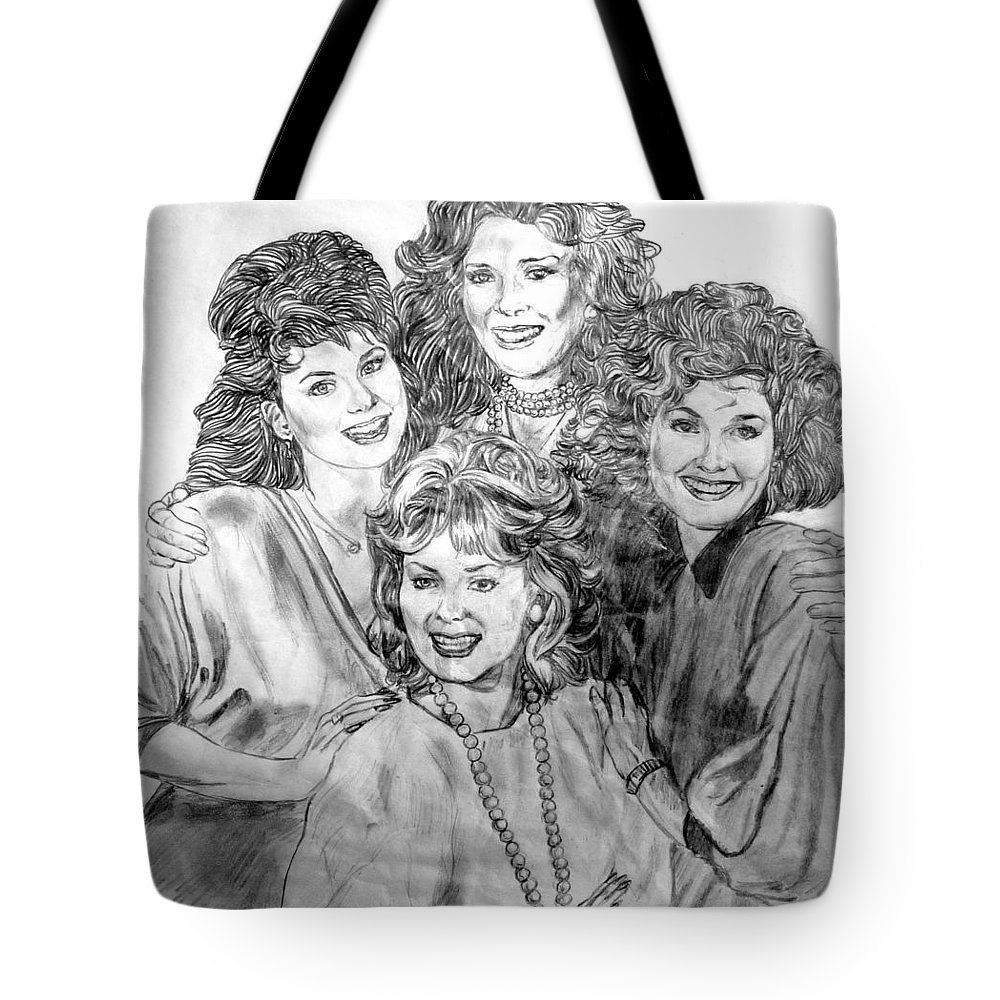 Delta Burke Tote Bag featuring the drawing Designing Women by Bryan Bustard
