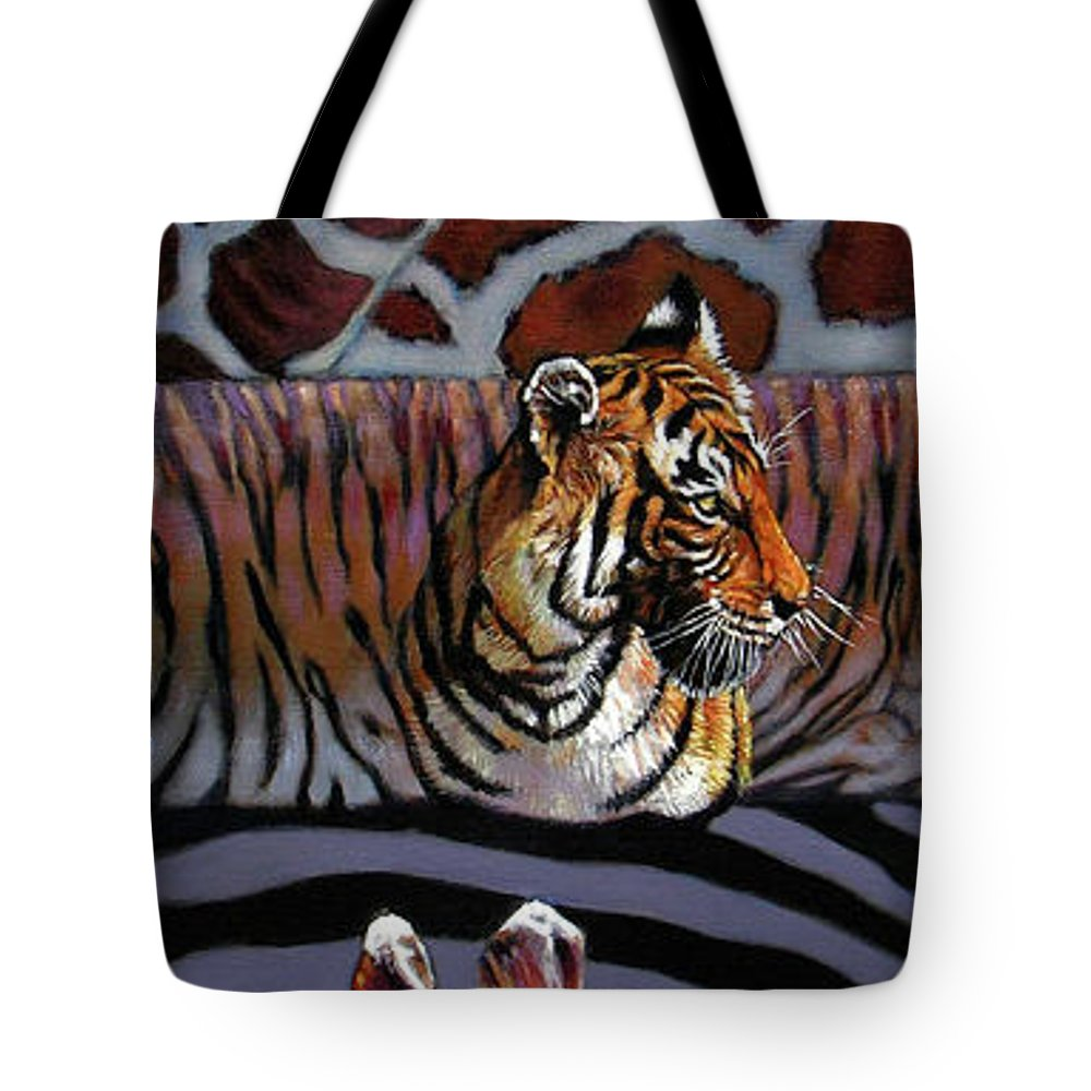 Animals Tote Bag featuring the painting Designs For Defense And Offense by John Lautermilch