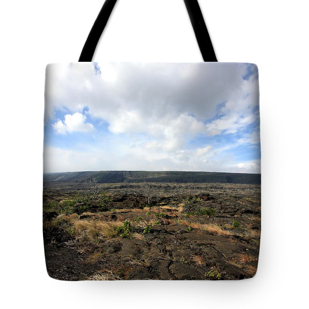Landscape Tote Bag featuring the photograph Desolate Lava Field by Mary Haber