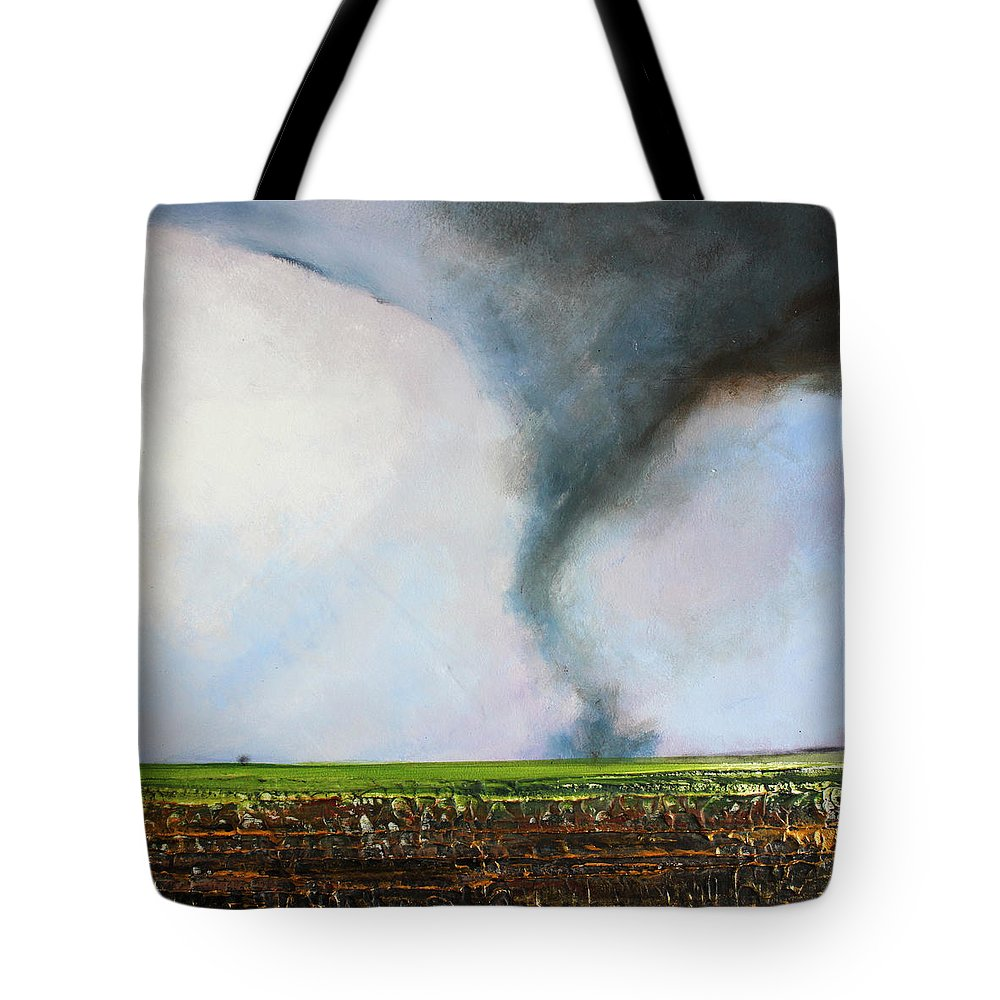 Tornado Tote Bag featuring the painting Desolate Tornado by Toni Grote