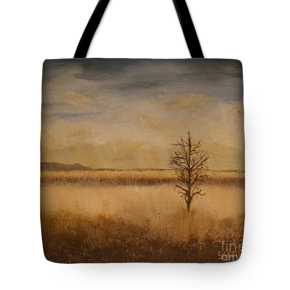 Landscape Tote Bag featuring the painting Desolation by Lori Jacobus-Crawford