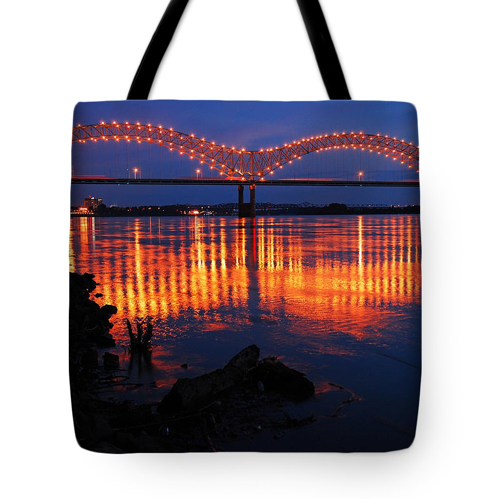 Memphis Tote Bag featuring the photograph Desoto Bridge Refections by James Kirkikis