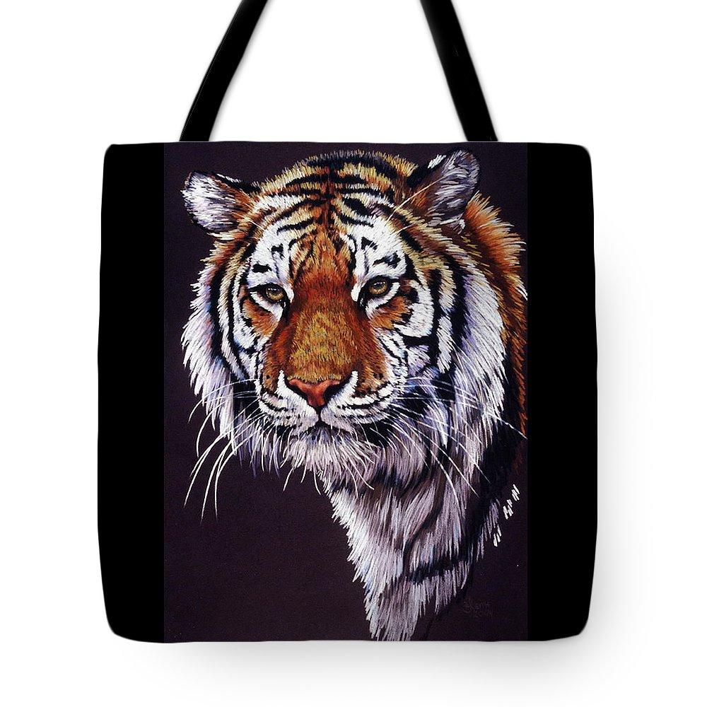 Tiger Tote Bag featuring the drawing Desperado by Barbara Keith