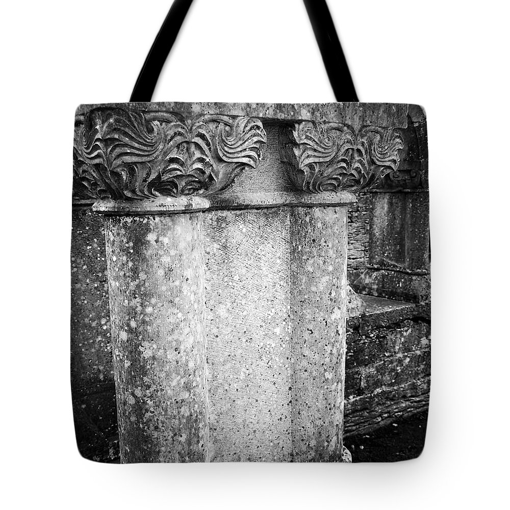 Irish Tote Bag featuring the photograph Detail Of Capital Of Cloister At Cong Abbey Cong Ireland by Teresa Mucha