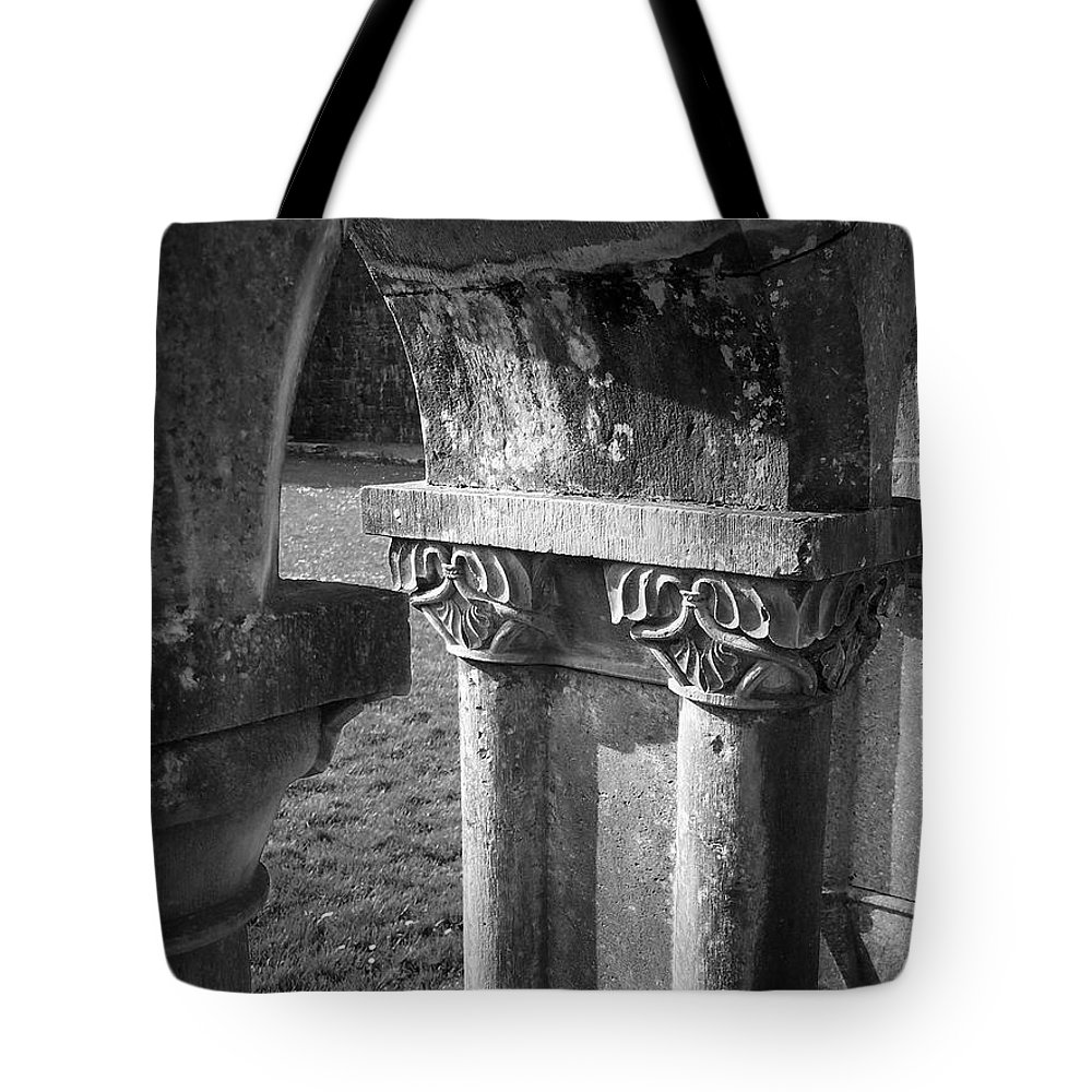 Irish Tote Bag featuring the photograph Detail Of Cloister At Cong Abbey Cong Ireland by Teresa Mucha
