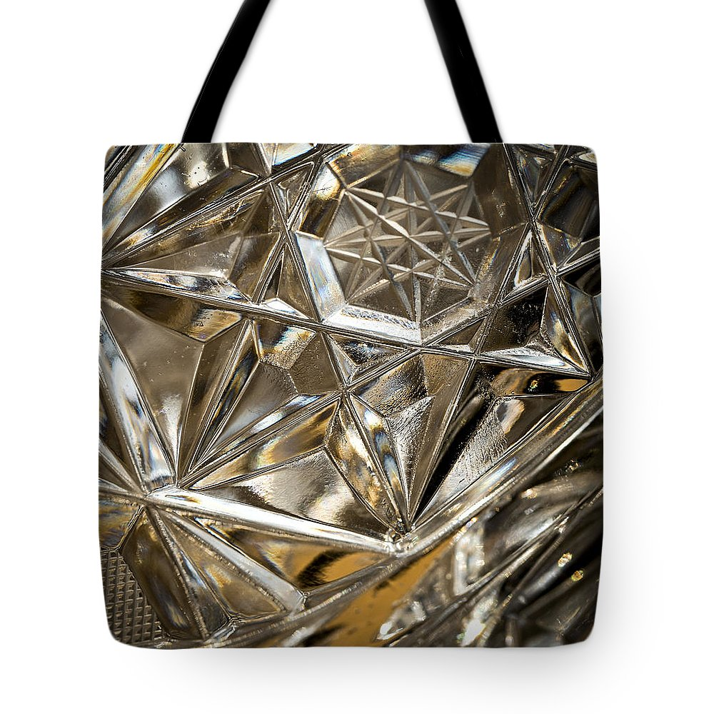 Glass Tote Bag featuring the photograph Detail Of Cut Glass by Jozef Jankola