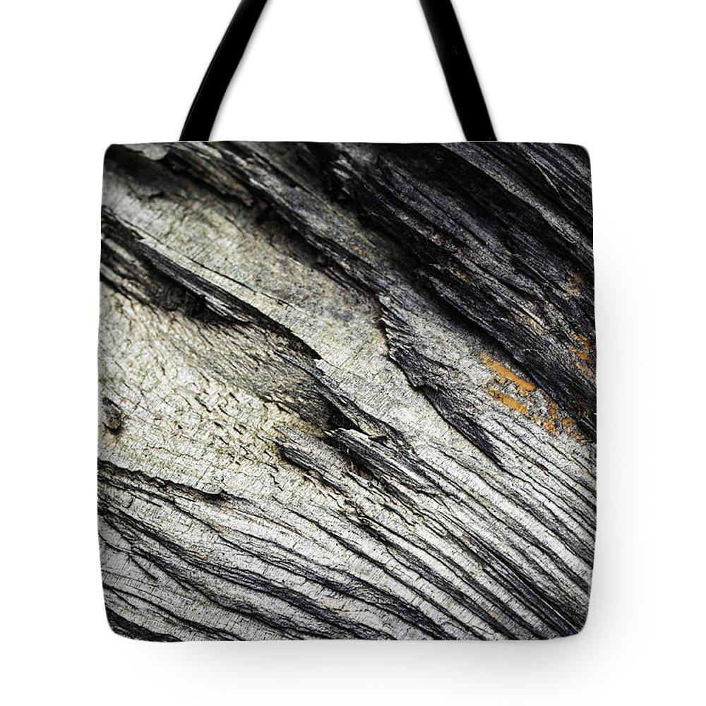 Dark Tote Bag featuring the photograph Detail Of Dry Broken Wood by Jozef Jankola
