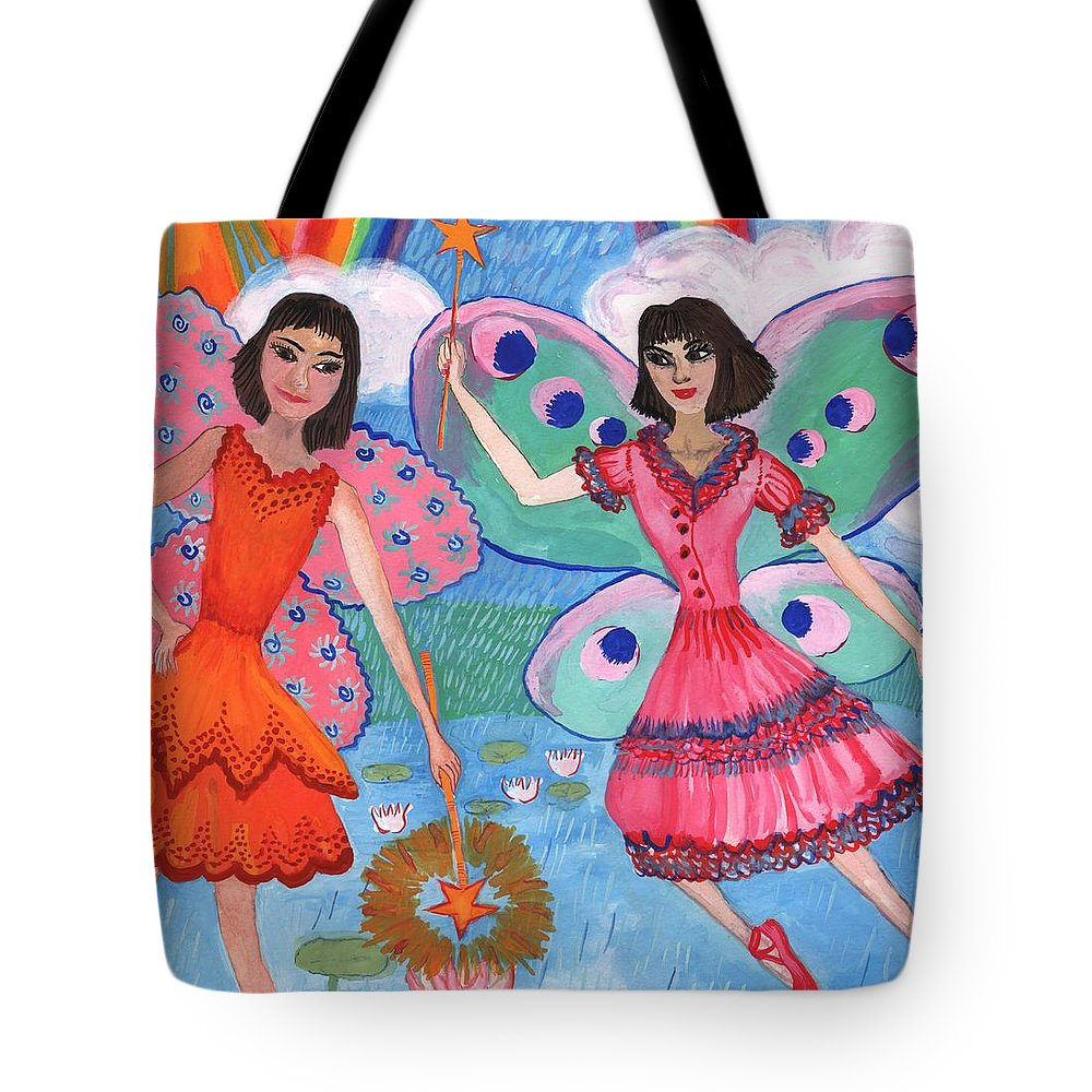 Sue Burgess Tote Bag featuring the painting Detail Of Lily Pond Fairies by Sushila Burgess