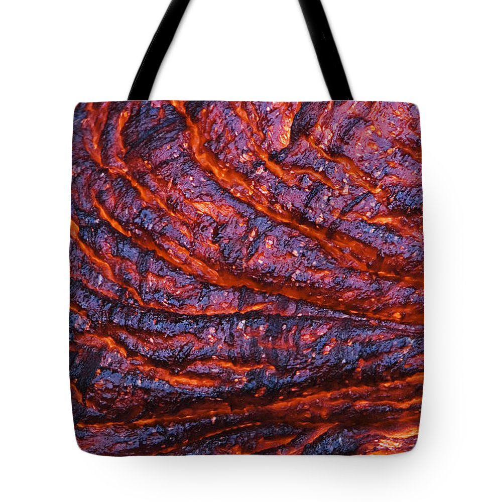 Abstract Tote Bag featuring the photograph Detail Of Molten Lava by Ron Dahlquist - Printscapes