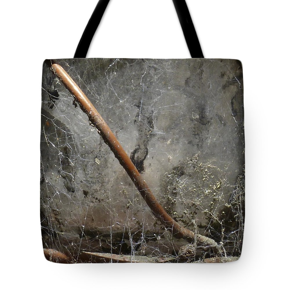 Texture Tote Bag featuring the photograph Detail Of Weathered Glass Lantern With Spider Webs And Mildew by Jason Rosette