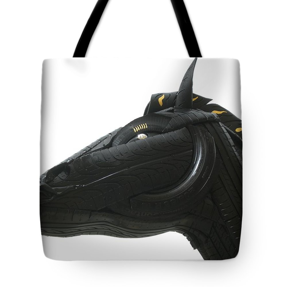 Horse Tote Bag featuring the sculpture Detail - Tire Horse by Mo Siakkou-Flodin