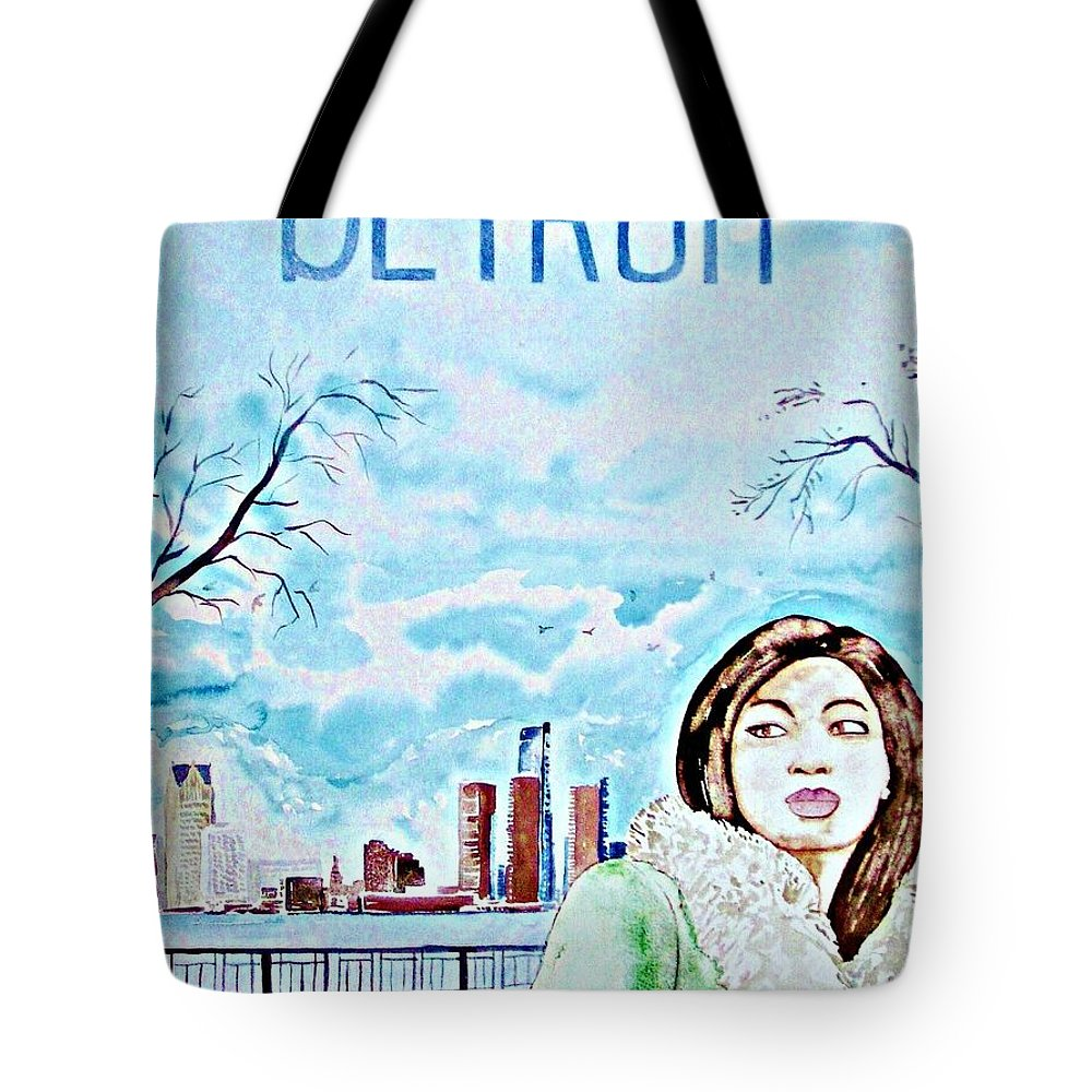 Detroit Michigan America Woman Snow Cityscape Skyline Travel Tote Bag featuring the painting Detroit 2009 by Ken Higgins