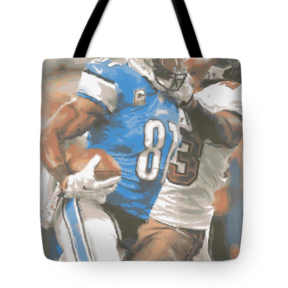 Detroit Lions Tote Bag featuring the photograph Detroit Lions Calvin Johnson 4 by Joe Hamilton