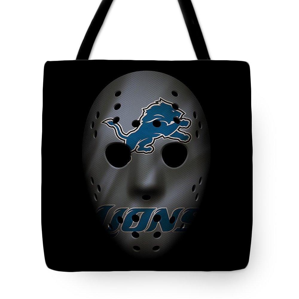 Lions.detroit Lions Tote Bag featuring the photograph Detroit Lions War Mask 3 by Joe Hamilton