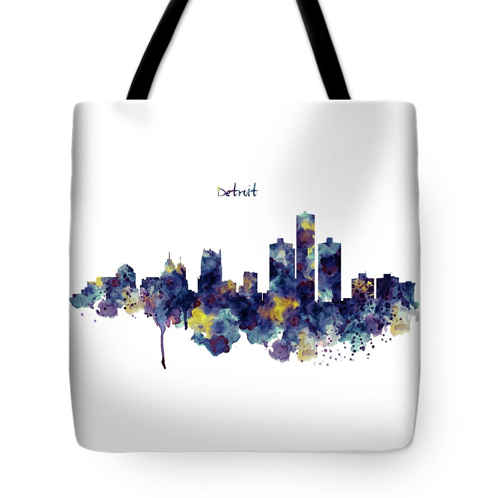Detroit Tote Bag featuring the painting Detroit Skyline Silhouette by Marian Voicu