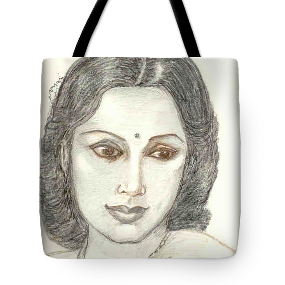 Tote Bag featuring the drawing Devika Rani - Svetoslav Roerich by Asha Sudhaker Shenoy