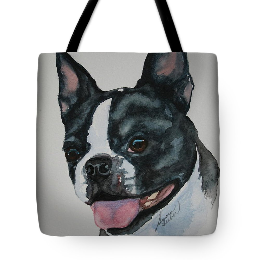 Boston Terrier Tote Bag featuring the painting Devil Ears by Susan Herber