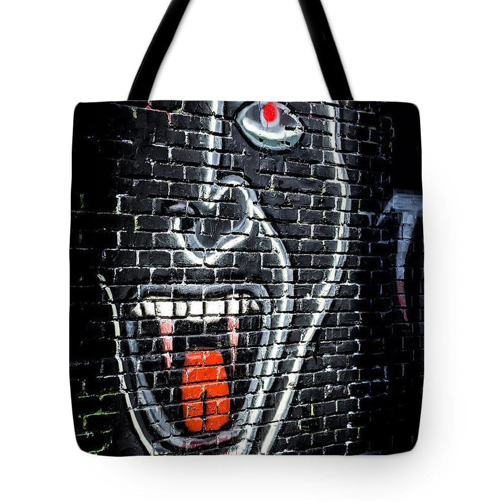 Endre Tote Bag featuring the photograph Devil Face Graffiti by Endre Balogh
