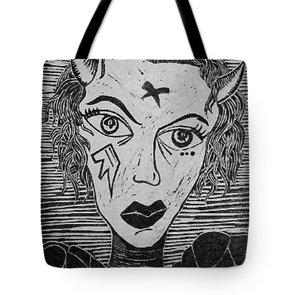 Prints Tote Bag featuring the print Devil Print Two Out Of Five by Thomas Valentine