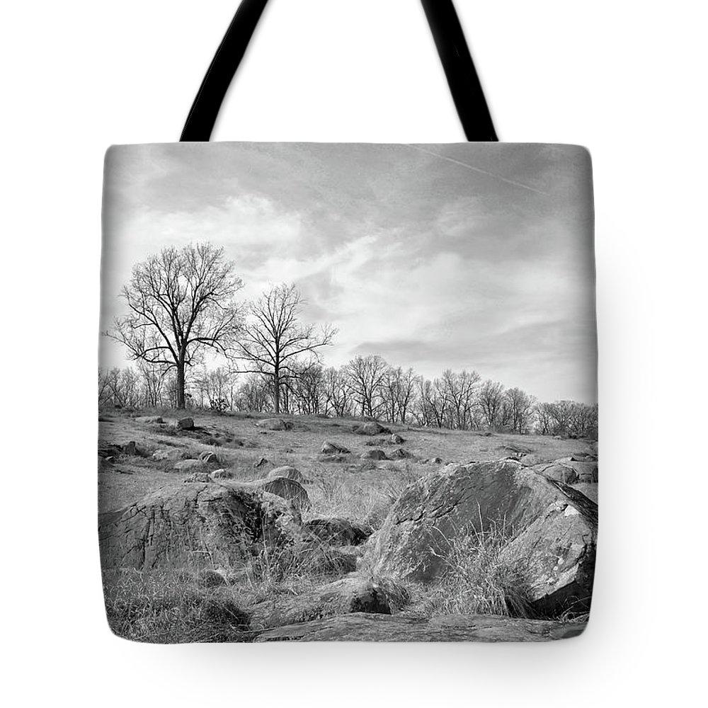 Civil War Tote Bag featuring the photograph Devil's Den by Jen Goellnitz